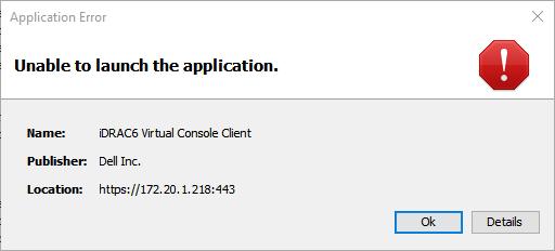 iDRAC6 IPMI Java Error